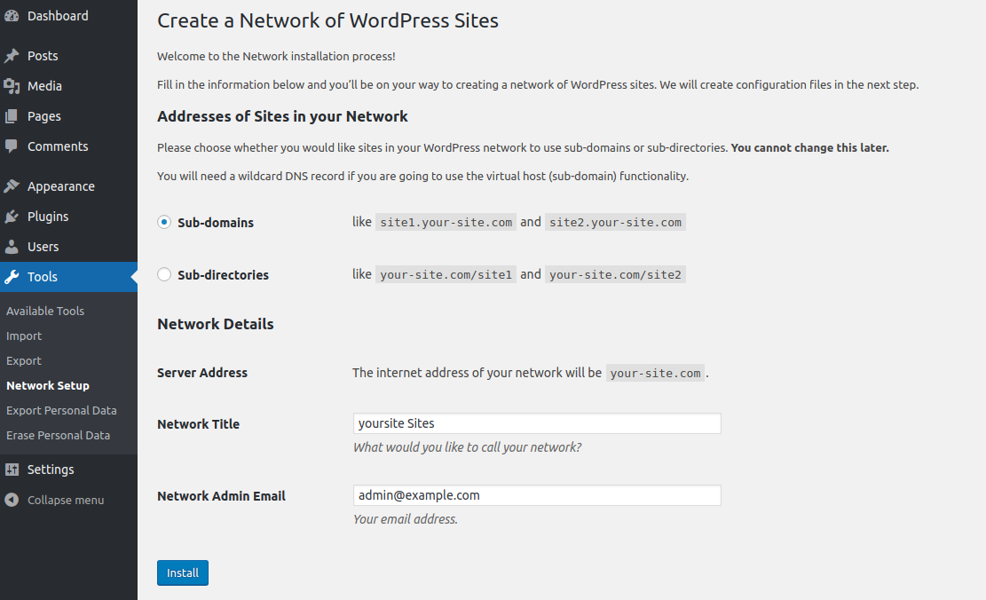Subdomain Multisite Network Setup